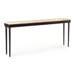 "Kathy Kuo Home - Parrish Hollywood Regency Black Gilt White Marble Console Table - Talk about love at first sight! From the sleek, black steel frame to the gilt ""coach line"" accents to the creamy white marble top, this slim console is a celebration of elegant simplicity - perfect for a narrow hallway or backing up a classic sofa or settee."