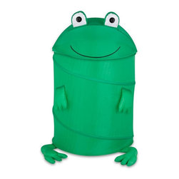 Honey Can Do - Large Kids Pop-Up Hamper - Frog - Large Kid's Pop-Up Hamper - Frog. 170T polyester. 3.3mm diameter spring wire. 18.5 in. L x 18.25 in. W x 30 in. H