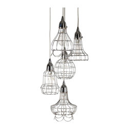 Lazy Susan - Lazy Susan 225039 Silver Wire Five Pendant Lamp - Five times the illumination of a standard pendant, this little powerhouse is anything but average. Crafted of iron and plated in a variety of finishes, this pendant boasts superior shine through the interplay of shapes and designs along with the staggered cord lengths for a heightened touch of flair. You'll spend countless hours deciding which of the bunch is your favorite.