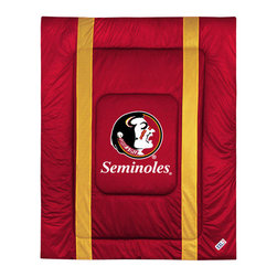 Sports Coverage - NCAA Florida State Seminoles Twin Comforter Sidelines Bed - Features: