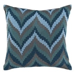 Surya - Surya Blue Zig Zag Pillow -