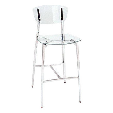Girari - Acrylic Stool, Brushed Satin Metal Frame/Legs - Girari's flagship bar stool featuring clear acrylic seat and back supported by an all hand made brushed satin cast aluminum frame, available in both bar stool and counter stool heights