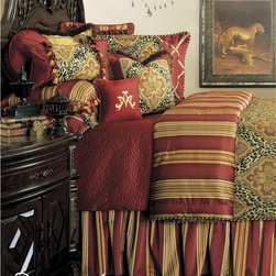 AICO Furniture - Nobel Philippe Comforter Set -BCS-NBLPHL-RED - Available in Queen or King sizes