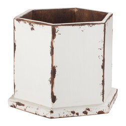 Antique Revival - White Harper Planter - This six-sided planter bucket is a geometric piece that works great both indoors and outdoors. The handmade item features a sturdy, flat base with a distressed white finish that adds a rustic feel. Item is newly made. Each item is unique and one-of-a-kind and dimensions/features may slightly vary.