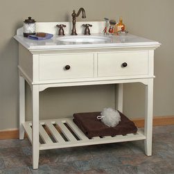 """36"""" Seton Console Vanity - Undermount Sink - 8"""" Widespread - Antiqued Dynasty Wh - With its rustic and country design, the 36"""" Seton Console Vanity for Undermount Sink will be a great addition to your antique or farm style home. This vanity features a unique wooden backsplash and an antiqued marble countertop."""