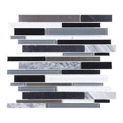 "Anatolia - Bliss Arctic Night Random Linear Mosaic - Anatolia has created a winning streak of products in the various ""Bliss Series"" it has manufactured. We're proud to present their newest line: Bliss Glass Stone Stainless. This stainless stone series features similar characteristics to the core foundation of the Bliss collection. There are 8 intricate colors to choose from, each mixed with stainless stone on a random linear mesh mosaic. This interesting combination will bring to life every backsplash and shower known to mankind!"