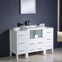 Fresca - Fresca Torino 48 White Bathroom Vanity w/ 2 Side Cabinets & Sink - Featuring a white finish and frosted glass panels for a smart, modern look, the Torino 48 vanity from Fresca will make a stylish yet highly practical addition to any bathroom. Supplied with the integrated ceramic sink, the durable vanity and two side cabinets incorporate plenty of storage space for toiletries and bathroom linen. Torino Bathroom Vanity Details:   Dimensions: Vanity 48W x 18 1/8D x 33 3/4H Side Cabinet dimensions: W 12 x D 17.75 x H 31.63 Plywood with veneer, integrated ceramic sink Single hole faucet mount Finish: White Includes two side cabinets Please note: faucet not included