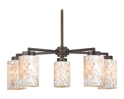 Design Classics Lighting - Bronze Chandelier with Mosaic Glass - Five Lights - 590-220 GL1026C - Country / cottage neuvelle bronze 5-light chandelier with cylinder glass shades. Includes one 6-inch and three 12-inch down rods that allow this chandelier to hang at a minimum height of 17-3/4-inches up to a maximum of 53-1/8-inches. Takes (5) 100-watt incandescent A19 bulb(s). Bulb(s) sold separately. UL listed. Dry location rated.