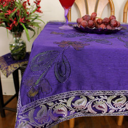 "Unique & Decorative Tablecloths - Eye Catching Purple with Silver border Square Tablecloth. Painted by hand in India. Dupion Silk fabric. Available in 45x45in, 45x90in, and 54x110in. ""Plum Silver"" Violet"