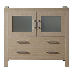 VIRTU - Virtu USA Dior 36-inch Light Oak Single Sink Cabinet Only Bathroom Vanity - Virtu USA 36-inch Dior single sink vanity is the essence of beauty with clean lines and quality material. This Dior comes with two soft closing doors and drawers, and satin nickel hardware with chrome highlights handles.