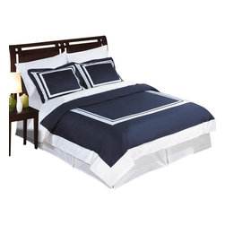 Bed Linens - Wrinkle Free Egyptian cotton Hotel Duvet cover set, Twin-TwinXL-2-pc-Set, Navy/W - Wrinkle-Free Soft made from 100% Egyptian cotton with 300 Thread count woven with superior single ply yarn. Fabric was treated to be wrinkle resistant so it looks as good as it feels.