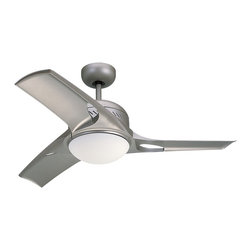 Monte Carlo - Mach Ceiling Fan - Mach Ceiling Fan is available in a Titanium or White finish with Matte Opal glass.  Available in a small or large. Triple capacitor, 3 speed reversible motor. Precision balanced motor and blades for wobble-free operation. 13 degree blade pitch designed for optimal air. Includes Wall / Hand Remote with downlight. One 75 watt, 120 volt T4 type Mini Candelabra base Halogen lamp is included. Small: 38 inch width x 14.43 inch height.  Large: 52 inch width x 14.43 inch height. UL Listed for Dry Locations.