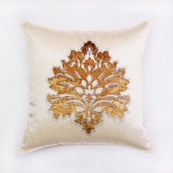 "Best Home Fashions - Damask rhinestone Stud Poly Oxford Pillow 19"""" x 19"""" Pair - Beige - Poly oxford fabric"