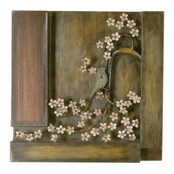 Welcome Home Accents - Three Dimensional Wild Flower Wall Decor - This unique, three dimensional, square metal wall art features highly detailed hand painted wild flowers set in a bronze frame. The tree branch covered in flowers holds one small bird adding a subtle splash of color. Finished with a distressed appeal, this classy decorative wall art will give your home a modern look that will accent your existing decor. Hooks on back for easy hanging