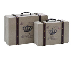 None - Vintage Look French Burlap Travel Luggage (Set of 2) - These luggage pieces are made with a solid wood frame and burlap fabric throughout and are rugged enough to travel the world. The stunning luggage boxes go great next to the couch or on the floor of the spare bedroom.