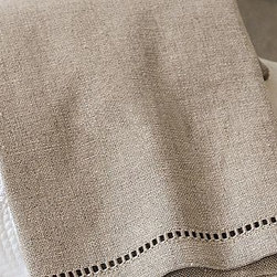 "Linen Hemstitch Guest Towels, Set of 2, Flax - Our hemstitch guest towels are woven of fine linen-cotton. Monogram them for a personal touch. 15 x 22"" Made of a linen/cotton blend. Monogramming is available for an additional charge. Choose from classic embroidery options or our new single-initial-with-icon style. Machine wash. Imported."