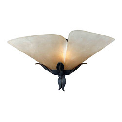 Quoizel - Quoizel YU8710IB Yuma Traditional Wall Sconce - Beautiful wrought iron formed into delicate leaves adds a touch of whimsy to this casual look.  The elegant shades are evocative of a calla lily, adding a soft, romantic edge to the bold silhouette.