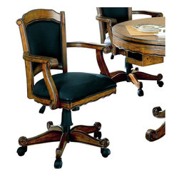 Coaster - Coaster Turk Arm Game Chair with Casters in Medium Oak - Coaster - Poker Table Chairs - 100872 -  This lovely arm chair will be a nice addition to your game room or casual dining area. The chair has a regal traditional style with convenient casters at the base for mobility. The wood framed chair back and seat are padded and covered in a soft dark vinyl adding comfort to these solid oak chairs. Scrolled arms and a shaped apron in a warm medium finish are gorgeous details making this caster arm chair the perfect fit for your home. Pull these chairs up to the matching game table for hours of fun with family and friends.   Note* Comes in Brown Cherry Finish Shown in Medium Oak finish in picture above Features:
