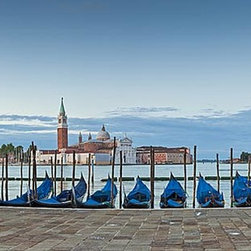 Magic Murals - San Giorgio Venice Panorama Wall Mural -- Self-Adhesive Wallpaper by MagicMurals - In this panoramic view, the gondolas are docked at the promenade in San Giorgio, one of the islands that comprise Venice, Italy.  In the background you can see the Church of San Giorgio Maggiore, a 16th-century Benedictine church.