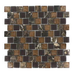 "GlassTileStore - Vestige Terra Brown Marble & Glass Tiles - VESTIGE TERRA BROWN TILE  This stunning combination of the dark emperidor with the frosted and polished metallic glass will give any room a rustic and contemporary ambience. Add a pop to any room with these beautiful tiles that are versatile; great to use for a backsplash for a kitchen or a fireplace     Chip Size: 1.18"" x 1.18""   Color: Dark Emperidor, Brown, Metallic Bronze   Material: Dark Emperidor & Glass   Finish: Frosted and Polished Glass   Sold by the Sheet - each sheet measures 12.5""x12.5"" (1.09sq. ft.)   Thickness: 8mm    - Glass Tile -"
