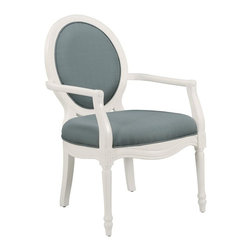 Comfort Pointe - Madison Rain Accent Chair - Intricate detailed hand carvings. Fluted front legs. Solid Wood Construction. Minor Assembly Required. Fabric: Textured rain color solid. Fabric Content: 100% Polyester. Finish: White Finish. Seat Height: 20 inches. Arm Height: 27 inches. 26 in. W x 31 in. D x 41 in. H (28.15 lbs.)This hand carved accent chair provides a casual feel.  The white vibrant finish is complimented by the textured, rain color fabric used for the cushion. Crafted with solid hardwood construction, this chair is sure to be a staple in your home for years to come.