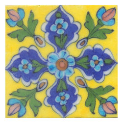 "Knobco - Tiles 4X4""Inch, Turquoise Flower Green Leaf Blue And Yellow Base - Turquoise Flower Green leaf Blue and Yellow Base Tiles from Jaipur, India. Unique, hand painted tiles for your kitchen or other tiling project. Tile is 4x4"" in size."