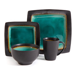 Gibson Elite - Gibson Elite Ocean Paradise 16-piece Square Dinnerware Set - This ceramic dinnerware set for four people features a jade green color scheme with various other shades on the border of each piece. The dishwasher and microwave safe set includes four dinner plates,four dessert plates,four bowls and four mugs.