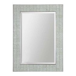 Uttermost Arroscia Mosaic Mirror - Pale green ivory glass tiles accented with silver inner and outer trim. Pale green ivory glass tiles create the inner frame while the inner and outer frame edges are trimmed in silver. Mirror is beveled. May be hung horizontal or vertical.