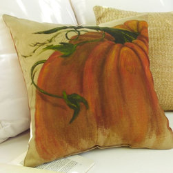 Painted Pumpkins Outdoor Pillow - I love this pumpkin pillow. It looks as though someone just sat down and painted it on. It's great for fall in your home.