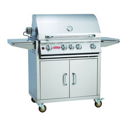 "Bull - Bull Outdoor Angus 30"" 4-Burner SS LP Grill with an Infrared Back Burner - The Angus cart is a 30 4-Burner Stainless Steel Barbecue Grill - Infrared Back Burner. This grill cart has room to prepare food and great storage for you tools and propane tank.- 75,000 BTU's -15,000 BTU Infrared Back Burner -304, 16 Gauge Stainless Steel -Smoker Box -Dual Lined Hood -4 Cast Stainless Steel Burners -Stainless Steel Flavor Bars -Grease Tray -Heavy Duty Casters -Heavy Duty Thermometer -Rotisserie -Metal Knobs -Twin Lighting System -Weight: 253 lbs."