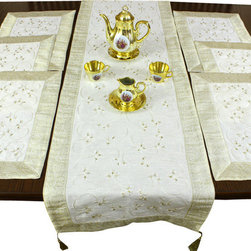Banarsi Designs - Hand Embroidered 7-Piece Placemat & Table Runner Set, Beige - Discover our beautiful, artistic, and luxurious Hand Embroidered 7-Piece Placemat and Table Runner Set from our exclusive Banarsi Designs collection.