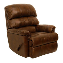 Catnapper - Bentley Leather Touch Chaise Rocker Recliner - Color: TobaccoReal leather everywhere your body touches. Known as leather with matching vinyl. Pad-over-chaise seating comfort. Stylish triple back. Unitized steel base. 100% Steel seat box. No warping or splitting in this critical area (standard on most models). Reclining Mechanism:. Installed with noiseless sure-lock spring clips. Strongest recliner seat box available. Direct drive cross bar ensures that both sides of the mechanism operate together, in sequence, for longer life. Heavy 8-gauge sinuous steel springs in the seat provide strength, comfort and flexibility. Made of top grain leather and vinyl. Pictured in Tobacco. No assembly required. Limited lifetime warranty. 37 in. L x 36 in. W x 42 in. H (115 lbs.)