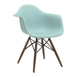 Design Lab MN - Mid Century Surfin Arm Chair with Walnut Wood Base (Set of 5) - Based on the classic Eames DSW Dining Chair designed in 1950 by Ray and Charles Eames. Our Mid Century Dining Chair is a high quality reproduction made from polypropylene with dark brown base legs, this contemporary version of the legendary DSW chair is both stylish and comfortable.