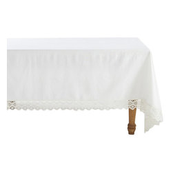 Coyuchi - Coyuchi Grand Lace Tablecloth - An extra-wide border of geometric lace makes our tablecloth feel romantic, rustic and modern, all at once. It surrounds an expanse of organic cotton, in a smooth, plain weave that keeps the look perfectly balanced.