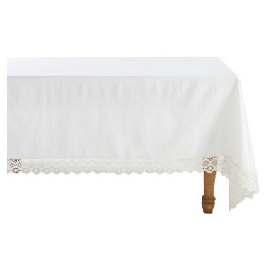 Coyuchi® - Coyuchi® Grand Lace Tablecloth - An extra-wide border of geometric lace makes our tablecloth feel romantic, rustic and modern, all at once. It surrounds an expanse of organic cotton, in a smooth, plain weave that keeps the look perfectly balanced.