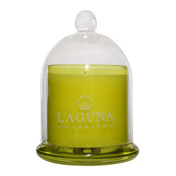 Laguna Candles, LLC - Artisan Apothecary Glass Dome Candle, Coastal Flower - A sparkling symphony of fresh White Tea infused with Rose, Jasmine, Lily of the valley and Lavender brightened with Clean Water and Citrus notes of Orange and Lemon; finished with seductive notes of Musk and Amber.