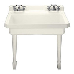 """Kohler Harborview Utility Single Basin Kitchen Sink - Some day I'll have a mud room or potting shed where this sink will live, and I will adore it. Or, if you're so inclined, go for it in your main kitchen - at 48"""" it takes up some room, but with 2 faucets and a cutting board that fits perfectly, you don't lose that much counterspace. Only downside is the lack of a sprayer faucet."""
