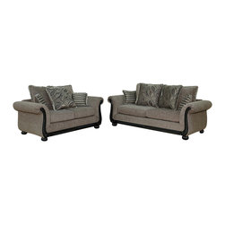 Royola Pacific - Ebony/Sage Plush Contemporary Lounge Sofa & Loveseat, 2pc Sofa & Loveseat Set - Solid hardwood construction