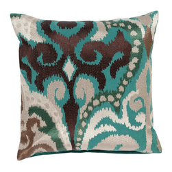 "Surya AR074-1818P 100% Cotton 18"" x 18"" Decorative Pillow - Liven up any space with this stylish design and colors of espresso, pullywillow gray, moth beige, silver blue, and mauve taupe. This pillow has a polyester fill and zipper closure. Made in India with one hundred percent cotton, this pillow is durable and priced right. Filler: Poly Fiber. Shape: Square."
