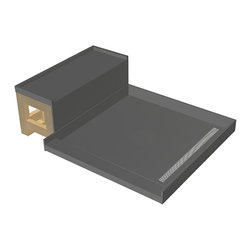 Tileredi - TileRedi RT3048R-SQPC-RB30-KIT 30x60 Pan and Bench Kit - TileRedi RT3048R-SQPC-RB30-KIT 30 inch D x 48 inch W fully Integrated Right PVC Trench Drain pan, 22.36 inch Square Design Grate, Polished Chrome finish, with Redi Bench RB3012 Kit