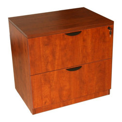 Boss Chairs - Boss Chairs Boss 2-Drawer Lateral File in Cherry - The two drawer locking lateral file come full assembled and can be used either free standing or under a desk shell. The floor glides allow for application where the flooring may not be perfectly level. It is finished in the Cherry laminate.