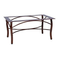 Woodard - Woodard Glade Isle Aluminum Coffee Table Base - The name Woodard Furniture has been synonymous with fine outdoor and patio furniture since the 1930s continuing the company�s furniture craftsmanship dating back over 140 years. Woodard began producing hand-made wrought iron furniture which led the company into cast and tubular aluminum furniture production over the years.� Most recently Woodard patio furniture launched its entry into the all-weather wicker furniture market with All Seasons which is expertly crafted and woven using synthetic wicker supported by an aluminum frame.� The company is widely known for durable beautiful designs that provide attractive and comfortable outdoor living environments.� Its hand-crafted technique used to create the intricate design patterns on its wrought iron furniture have been handed down from generation to generation -- a hallmark of quality unmatched in the furniture industry today. With deep seating slings and metal seating options in a variety of styles Woodard Furniture offers the designs you want with the quality you expect.  Woodard aluminum furniture is distinguished by the purest aluminum used in the manufacturing process resulting in an extremely strong durable product which still can be formed into flowing shapes and forms.� The company prides itself on the fusion of durability and beauty in its aluminum furniture offerings. Finishes on Woodard outdoor furniture items are attuned to traditional and modern design sensibilities. Nineteen standard frame finishes and nineteen premium finishes combined with more than 150 fabric options give consumers countless options to design their own dream outdoor space. Woodard is also the exclusive manufacturer of outdoor furnishings designed by Joe Ruggiero home decor TV personality.� The Ruggiero line includes wrought iron aluminum and all weather wicker designs possessing a modern aesthetic and fashion-forward styling inspired by traditional Woodard patio furniture designs. Rounding out Woodard�s offerings is a line of distinctive umbrellas umbrella bases and outdoor accessories.� These offerings are an integral part of creating a complete outdoor living environment and include outdoor lighting and wall mounted or free standing architectural elements � all made with Woodard�s unstinting attention to detail and all weather durability. Woodard outdoor furniture is an American company headquartered in Coppell Texas with a manufacturing facility in Owosso Michigan.� Its brands are known under the names of Woodard Woodard Landgrave and Woodard Lyon Shaw. With a variety of collections Woodard produces a wide array of collections that will be sure to suit any taste ranging from traditional to contemporary and add comfort and style to any outdoor living space. With designs materials and construction that far surpass the industry standards Woodard Patio Furniture creates beauty and durability that is unparalleled.