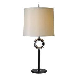 Joshua Marshal - One Light Matte Black/Chrome Off-White Shantung Shade Table Lamp - One Light Matte Black/Chrome Off-White Shantung Shade Table Lamp