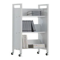 Adarn Inc - Free-Standing White 3-Tier Bookshelf Bookcase Cart with Casters - Features:
