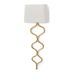 Kathy Kuo Home - Havilland Hollywood Regency Gold Leaf Sinuous Metal Sconce - Luscious curves and gold leaf speak of glamour. A crisp linen shade reflects modern sensibilities. Together, they create a sconce that will light up a room with tasteful elegance. On its own or in a set, this lamp will bring the spirit of forward-thinking design to your home.