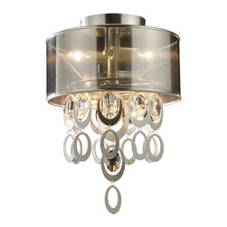 Elk Lighting - Parisienne Modern Chrome & Crystal Semi-Flush Mount Light Fixture - This High Fashion Semi-Flush Mount Ceiling Light Fixture Features Silver Leaf Finished Metal Ovals That Surround Crystal Elements. This Metal And Crystal Assembly Cascades Harmoniously From The Top Of The Fixture Through A Translucent Chrome Shade That Reflects Light Downward For Added Drama. This Fixture Weighs Three (3) Pounds and Accommodates Two (2) Bulbs With A Medium Base, Which Are Not Included.