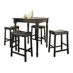Crosley Furniture - 5 Pc Pub Dining Set w Turned Leg and Saddle S - Includes Pub Table and 4 Stools in Black. Solid Hardwood & Veneer Construction Table . Solid Hardwood Stools. Hand Rubbed, Multi-Step Finish. Solid Hardwood, Fully Turned, Legs. Durable Stain Resistant Faux Leather PVC Seat. Stool Dimensions: 36 in. H x 32 in. W x 32 in. D. Table Dimensions: 40 in. H x 18.5 in. W x 22.5 in. DConstucted of solid hardwood and wood veneers, the 5 piece Pub / High Dining set is built to last. Whether you are looking for dining for four, or just a great addition to the basement or bar area, this set is sure to add a touch of style to any area of your home.