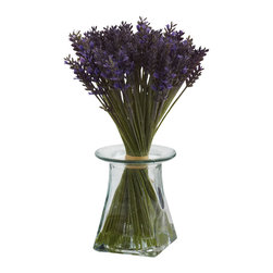 """TwentyOne7 - Lavender Bundle with Vase - Just the name """"Lavender"""" suggest beauty, grace, and an essence of class. And that's easy to see when you gaze upon this Lavender arrangement. It features beautiful green stalks twisting around, ending in fluffy blooms, all wrapped up in a handsome decorative vase, complete w/ Liquid Illusion faux water. Perfect for home or offices, it also makes a great gift."""