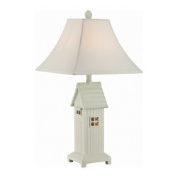 Lite Source - Lite Source LS-22423 Lodge 2-Light Table Lamps in Brushed Antique White - Table Lamp W.night, Brushed Ant. White/off-white, CFL 23W/b 7W