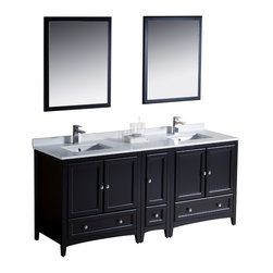 """Fresca - Fresca Oxford 72"""" Espresso Double Sink Vanity w/ Side Cabinet - Dimensions of vanity:  72""""W x 20.38""""D x 32.63""""H. Dimensions of mirror:  26""""W x 31.88""""H. Materials:  Solid wood frame, MDF panels, quartz stone countertop, ceramic undermount sinks w/ overflow. Single hole faucet mounts. 5 soft close doors. 3 soft close dovetail drawers. Seamless countertop w/ matching backsplash. P-traps, faucets, pop-up drains and installation hardware included. Blending clean lines with classic wood, the Fresca Oxford traditional bathroom vanity is a must-have for modern and traditional bathrooms alike.  The vanity frame itself features solid wood in a stunning espresso finish that's sure to stand out in any bathroom and match all interiors.   Available in many different finishes and configurations."""